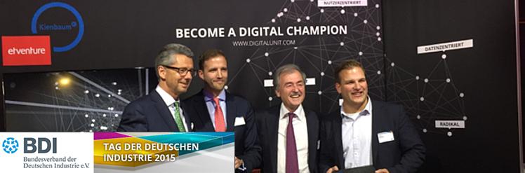 Ulrich Grillo, Fabian Kienbaum, Jochen Kienbaum und Philipp Depiereux auf dem Tag der Deutschen Industrie